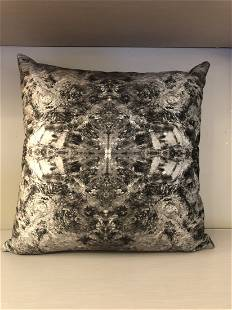"""modern handmade """"Bruce Mishell"""" print on velvet pillow"""