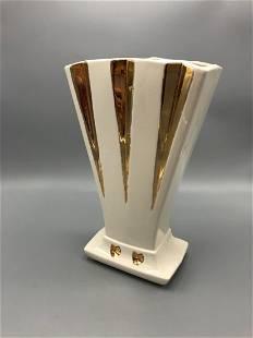 Mid-Century ceramic vase with gold detail