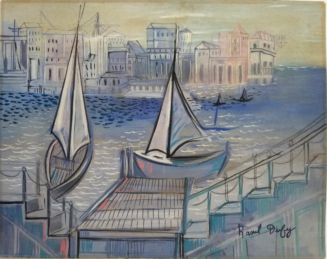 In the style of  Raoul DUFY gouache on paper