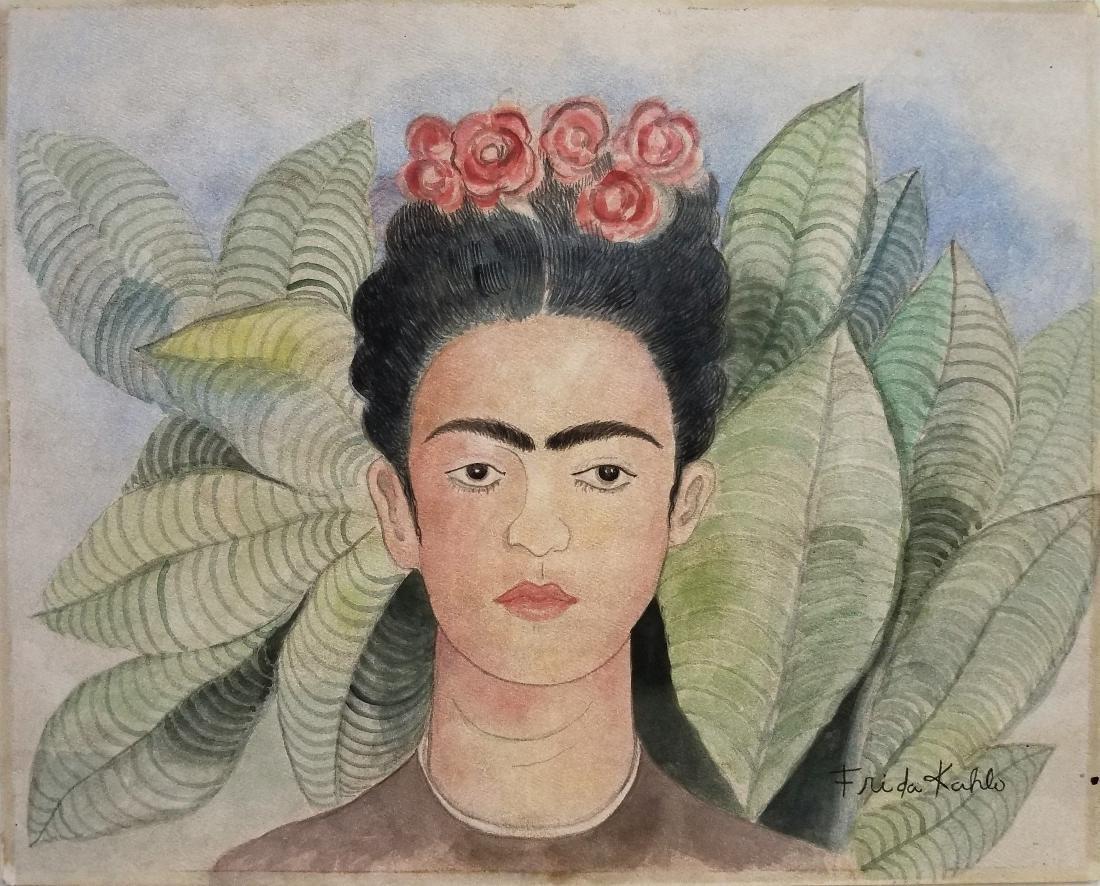 (Att.) Frida Khalo watercolor on paper.