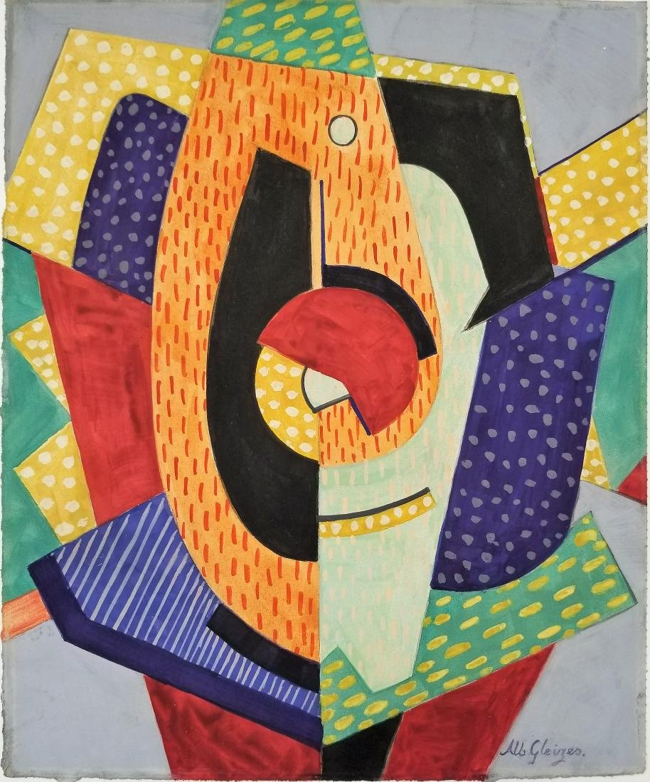 Mixed media on paper in the style of Albert Gleizes