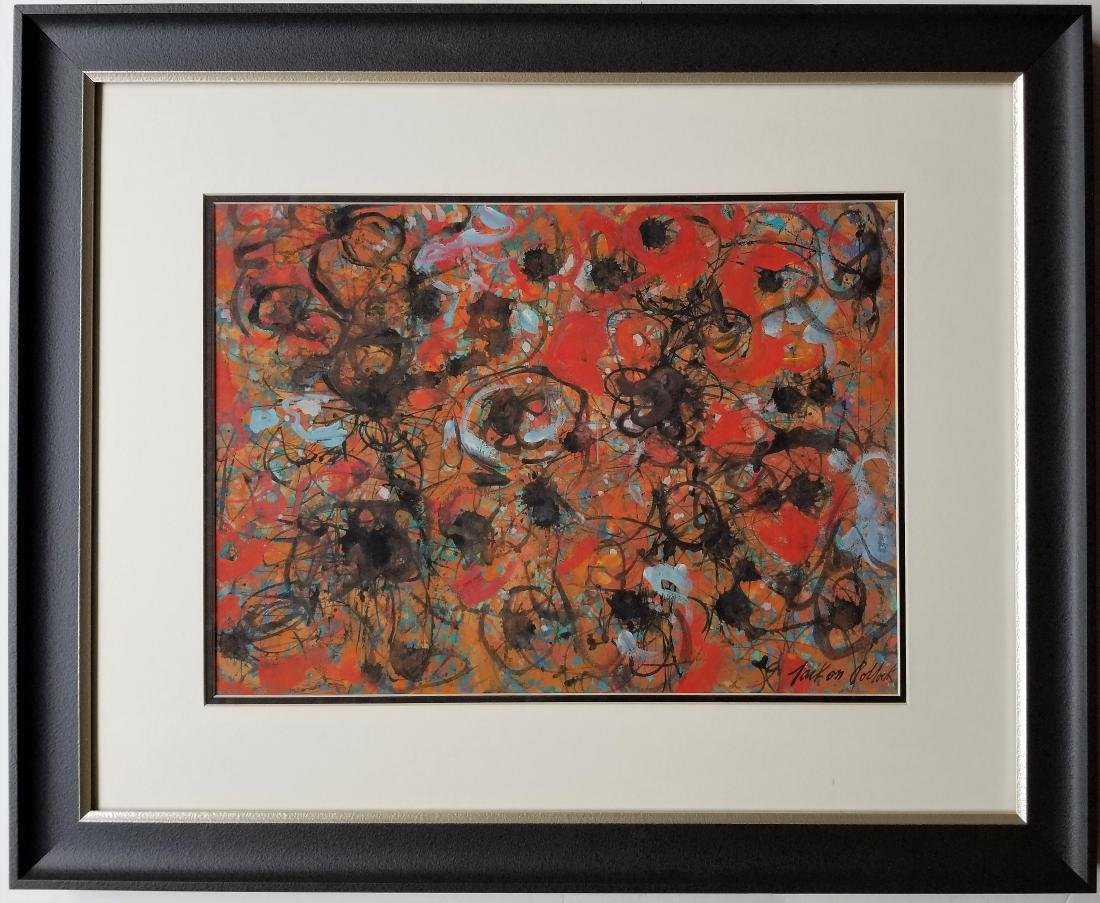 Mixed media on paper in the style of Jackson Pollock