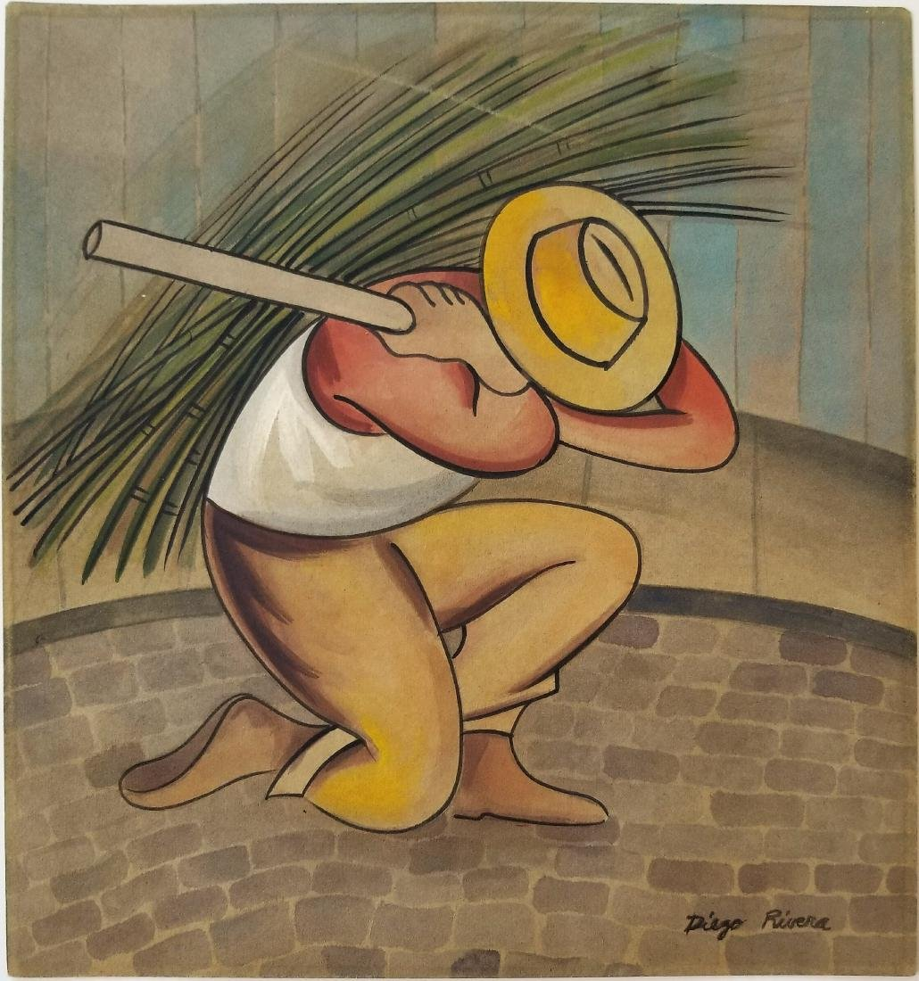 Diego Rivera gouache on paper drawing