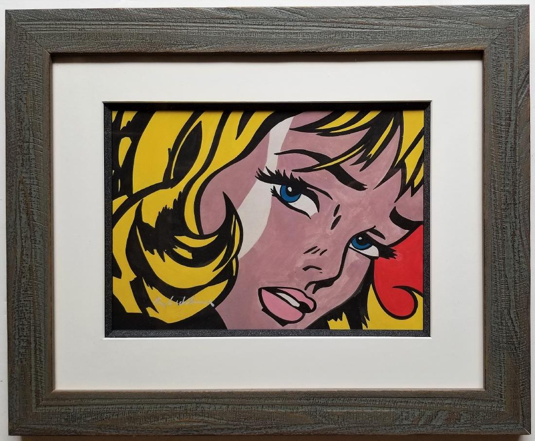 Gouache on paper. In the style of Roy Lichtenstein