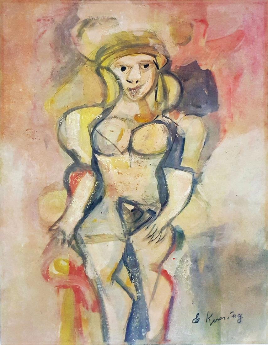 In the style of Willem DE KOONING mixed media on paper.