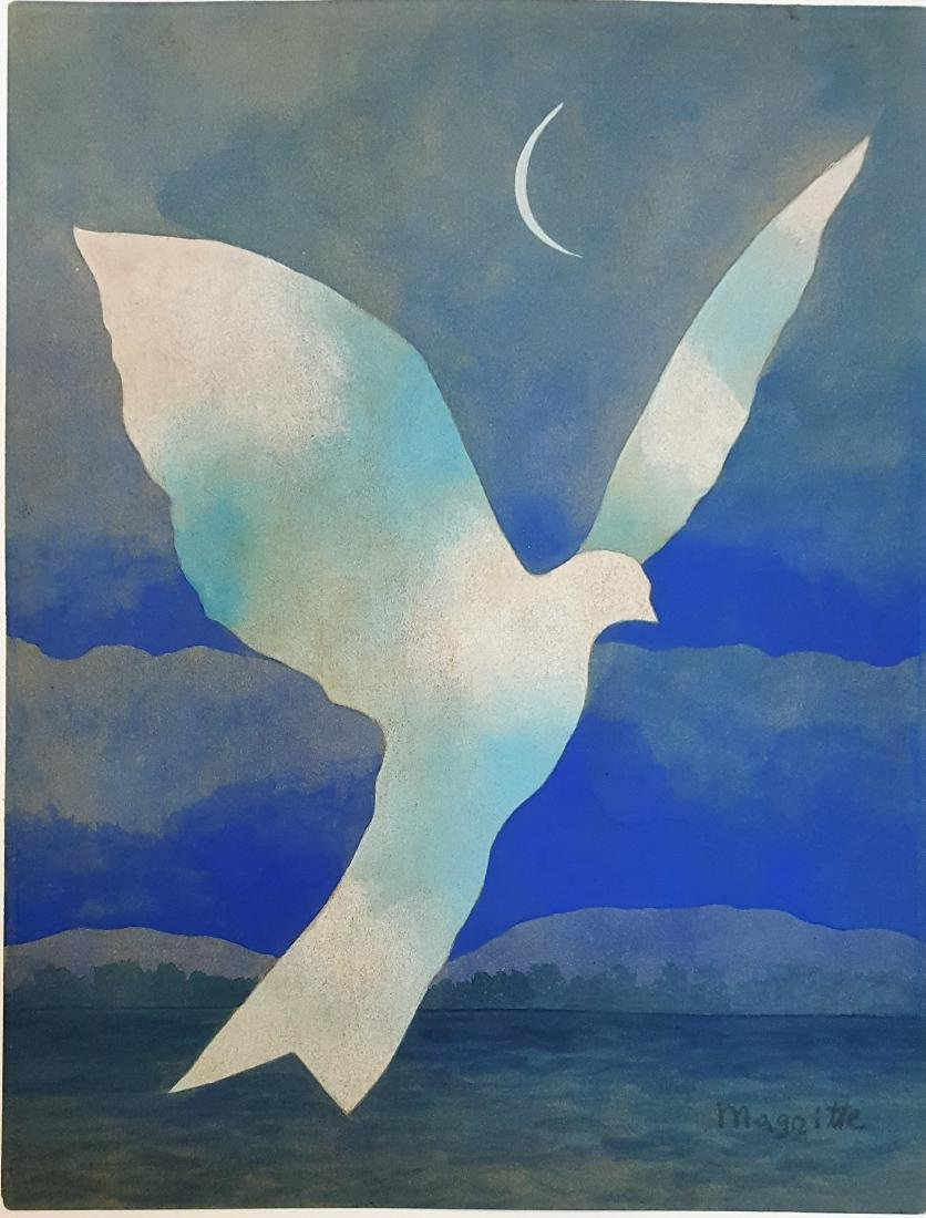 Attributed to Rene MAGRITTE gouache on paper signed