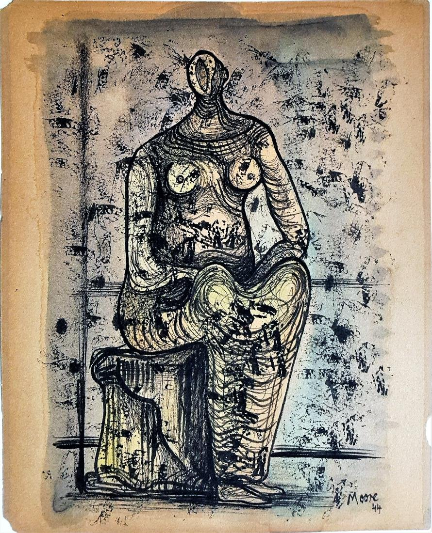 Style of Henry Spencer Moore mixed media on paper