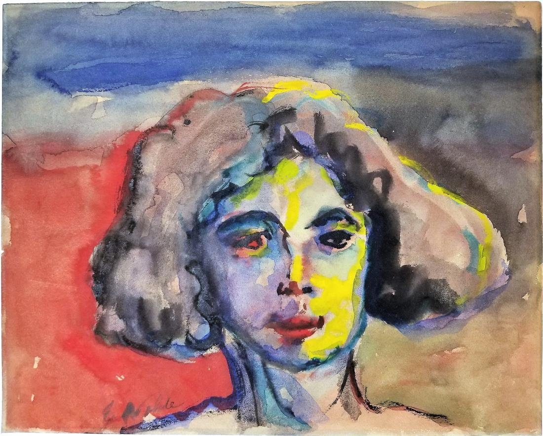 Attributed to Emil Nolde watercolor on paper.