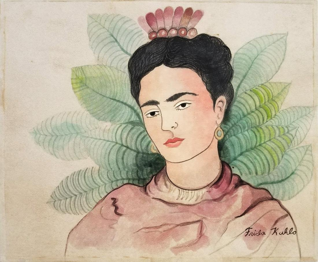 Frida Khalo watercolor on paper signed(Att.)