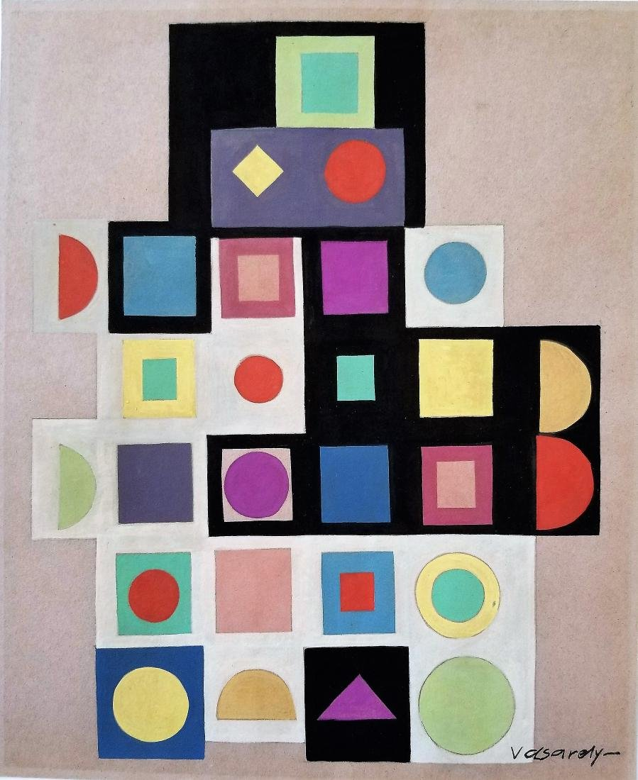 In Style of Robert Delaunay Victor VASARELY gouache on