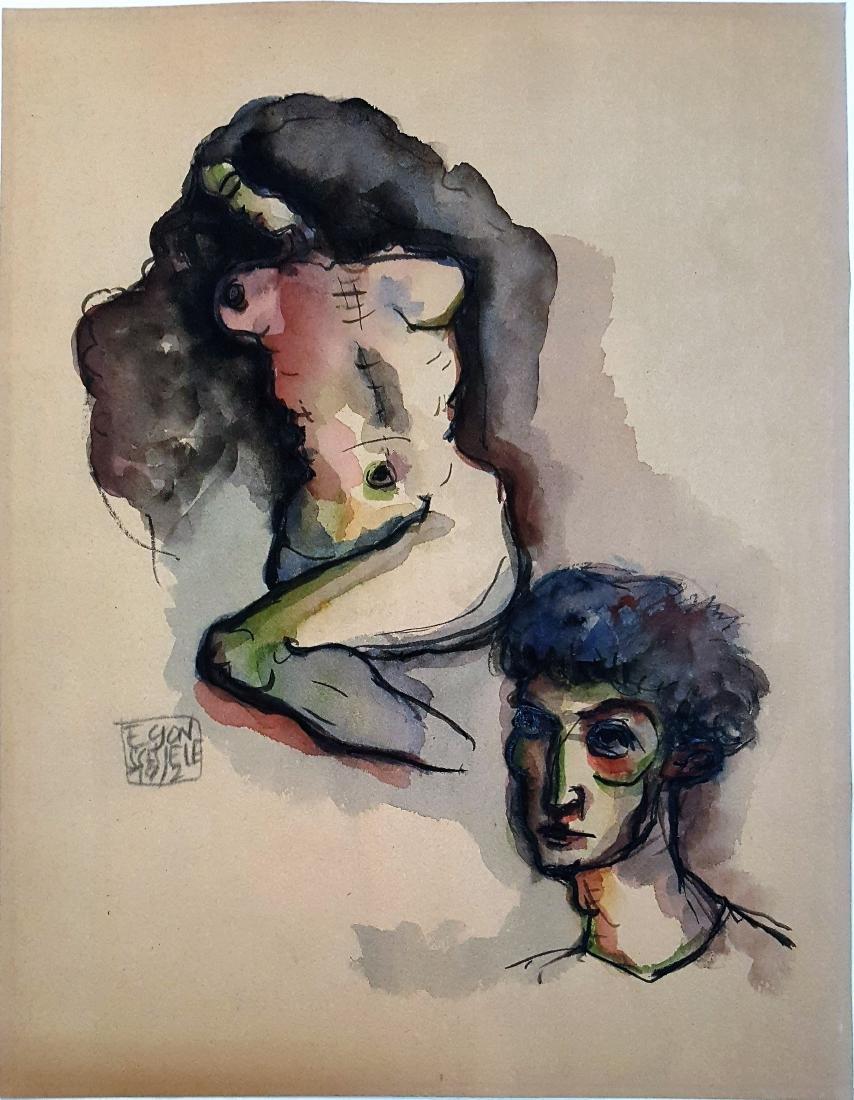 Signed Egon Schiele mixed media on paper (Att.)