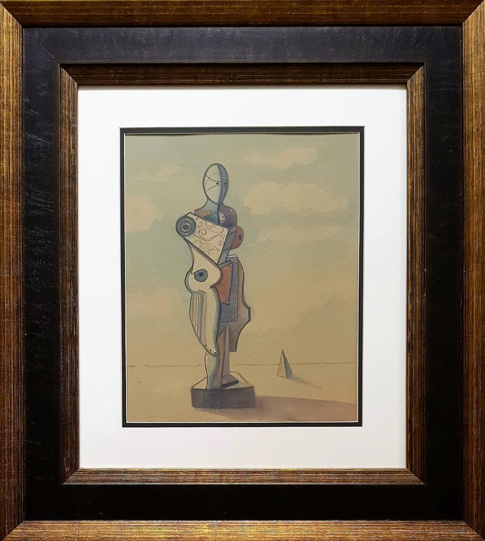 In the style of Giorgio DE CHIRICO watercolor on paper