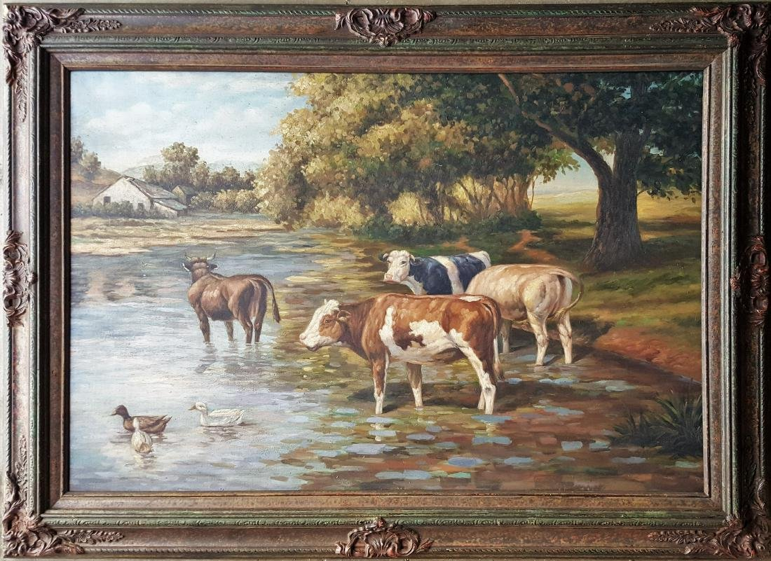 Antique oil on canvas painting , Unknown artist
