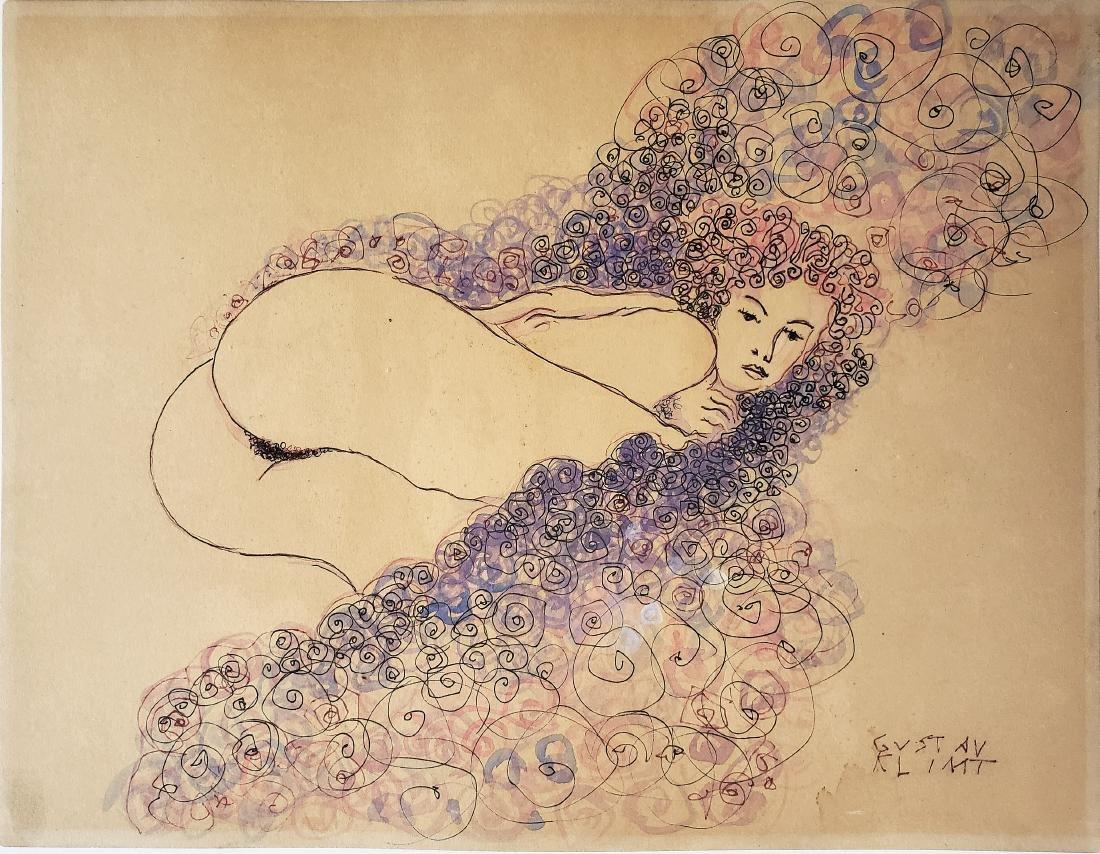 Ink on paper in the manner of  Gustav Klimt