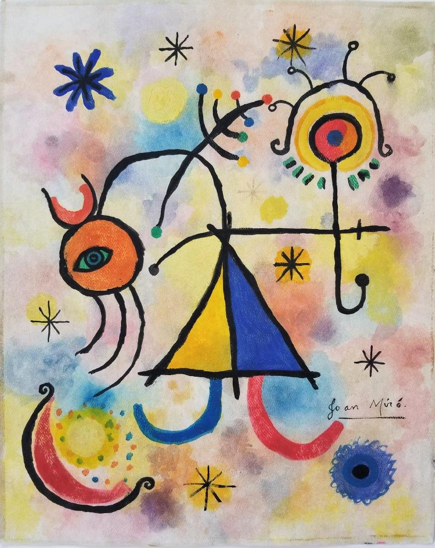 Gouache on paper signed Joan Miro