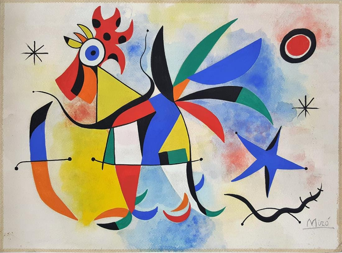 Gouache on paper (Attrib.)Joan Miro