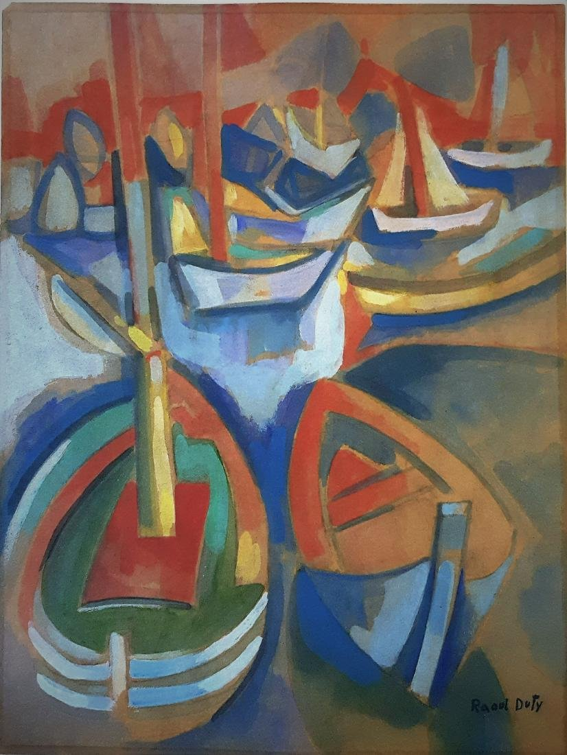 In the style of Raoul Dufy gouache on paper,