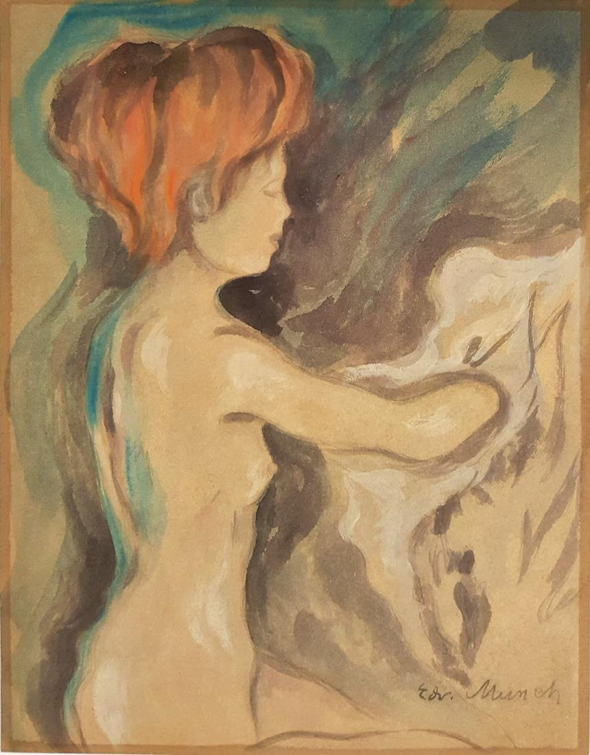 Watercolor on paper signed E. Munch