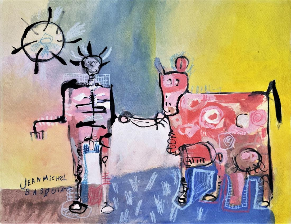 Mixed media on paper signed Basquiat.