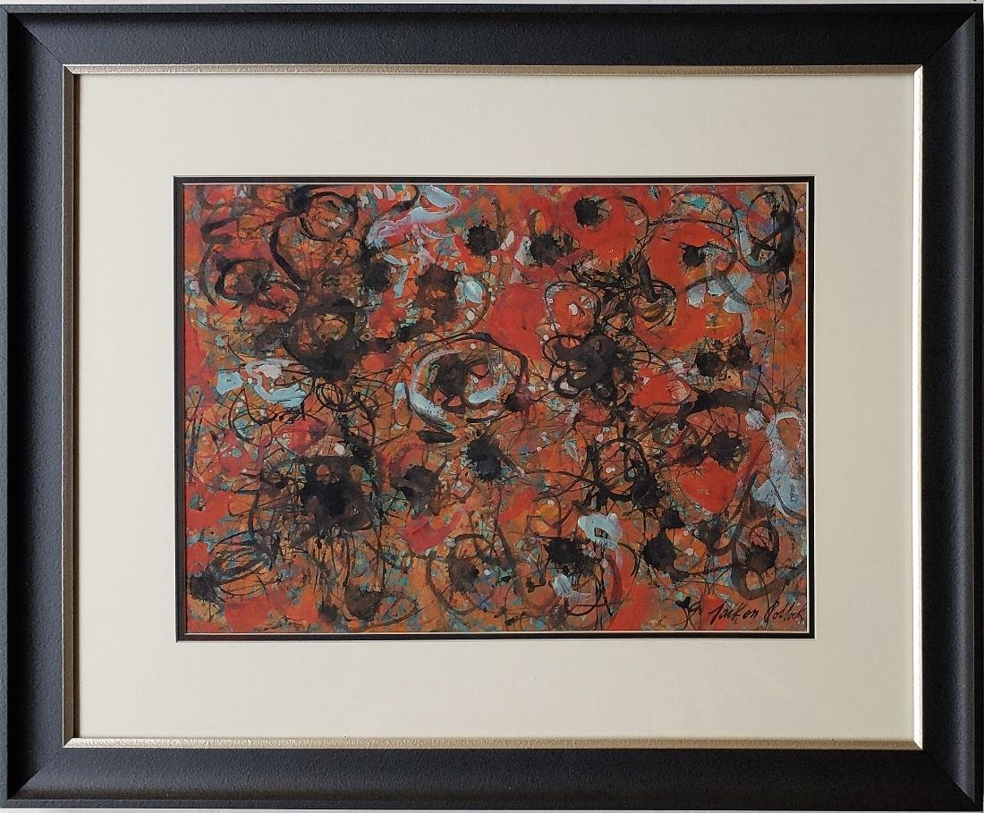 Mixed media on paper signed Jackson Pollock