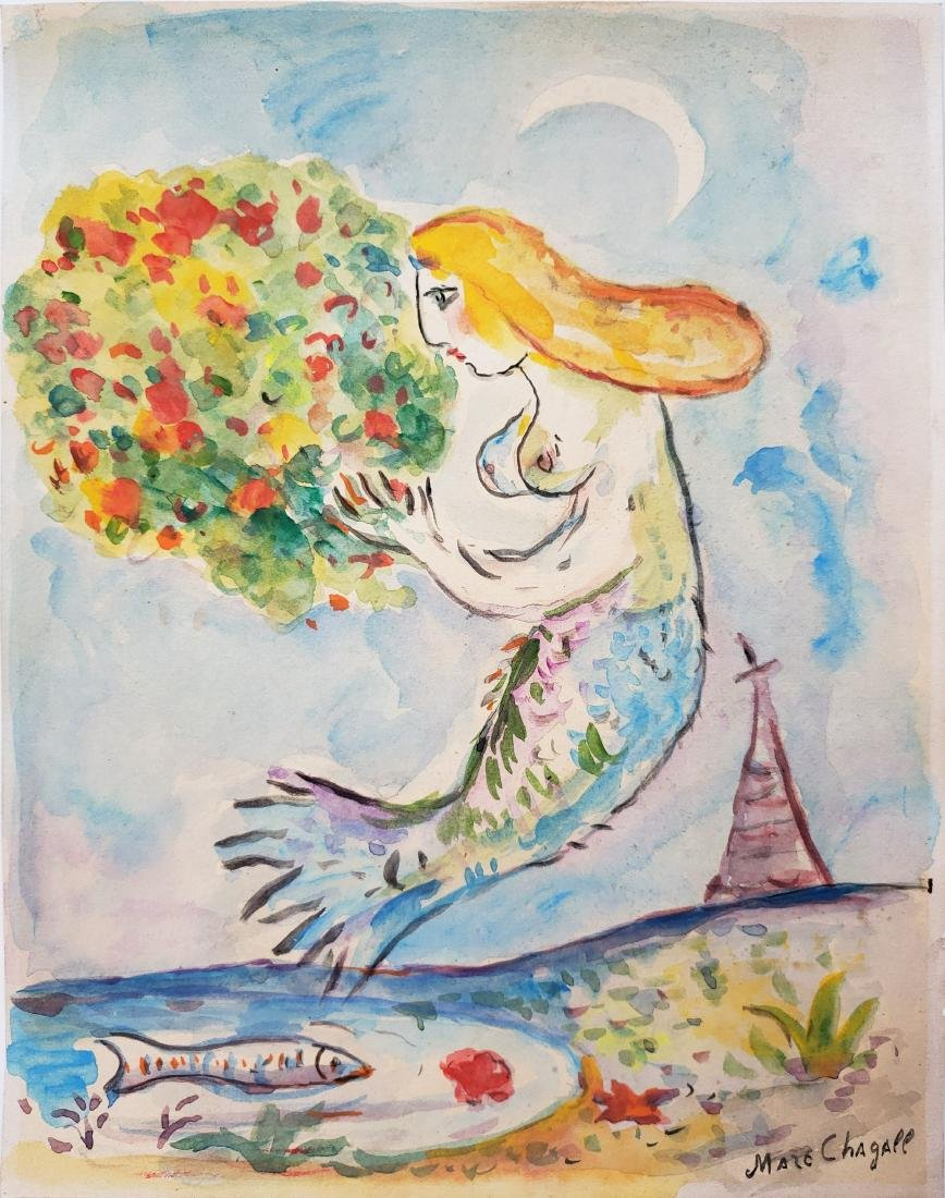 Chagall watercolor on paper