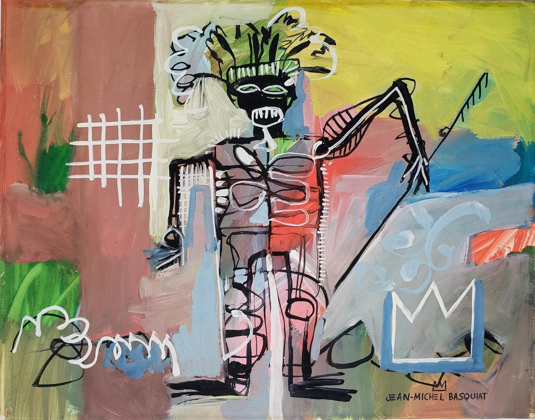Mixed media on paper signed Jean-Michel Basquiat