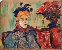 Mixed Media on paper Att-Henri de Toulouse-Lautrec