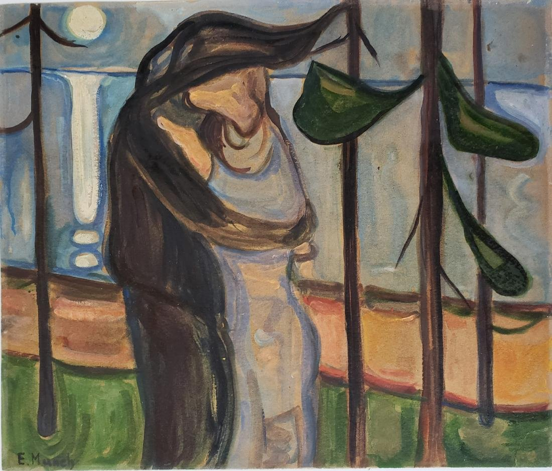 Mixed media on paper signed E. Munch.