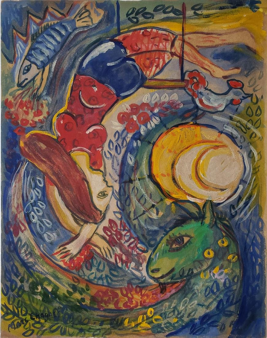 Gouache on paper signed Marc Chagall