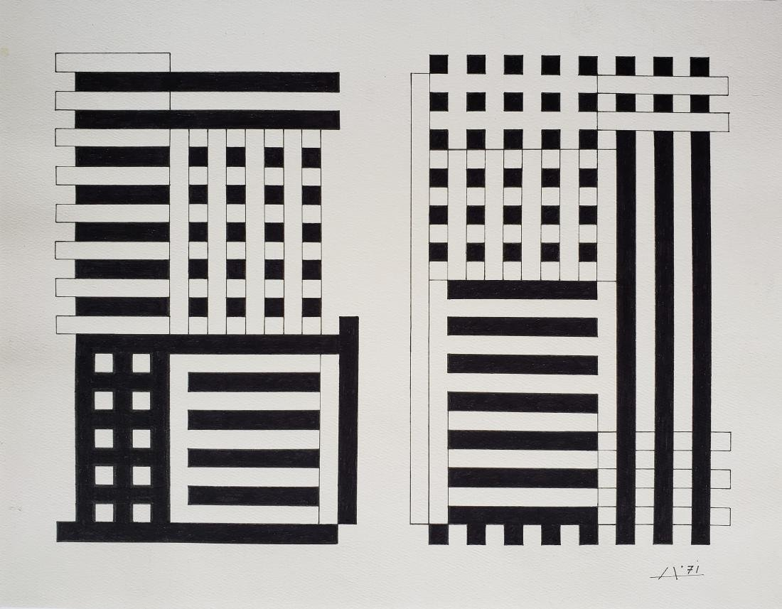 Ink on paper signed Josef Albers