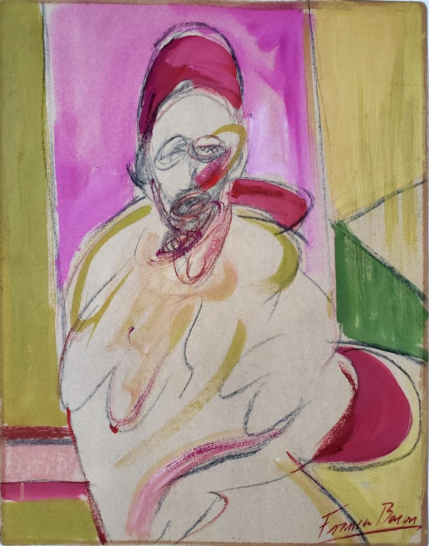 Signed Francis BACON gouache on paper