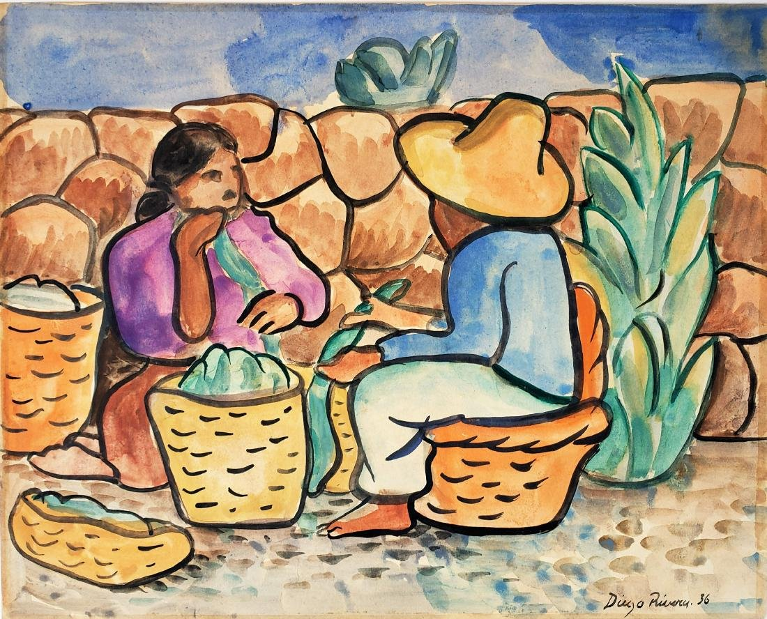 Diego Rivera watercolor on paper.