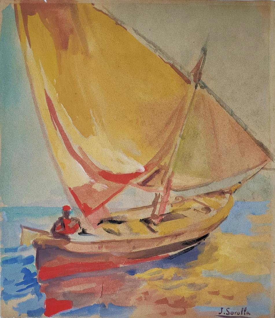 Watercolor on paer signed J. Sorolla