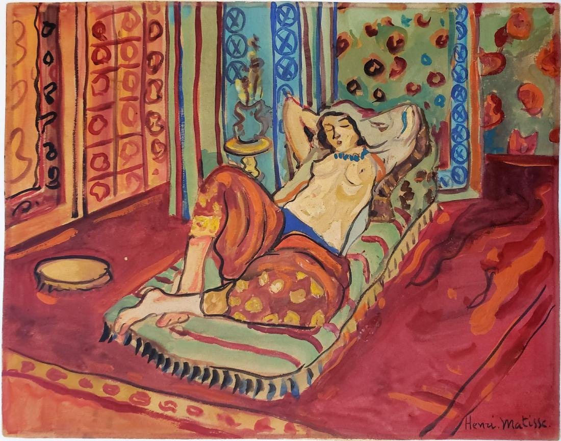 Watercolor on paper Signed Henri Matisse.