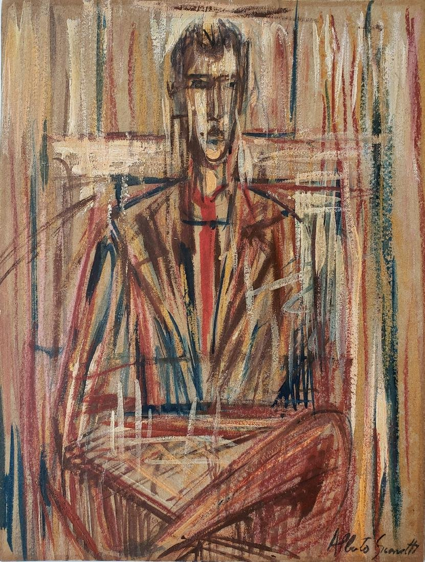 Mixed media on paper signed Alberto GIACOMETTI