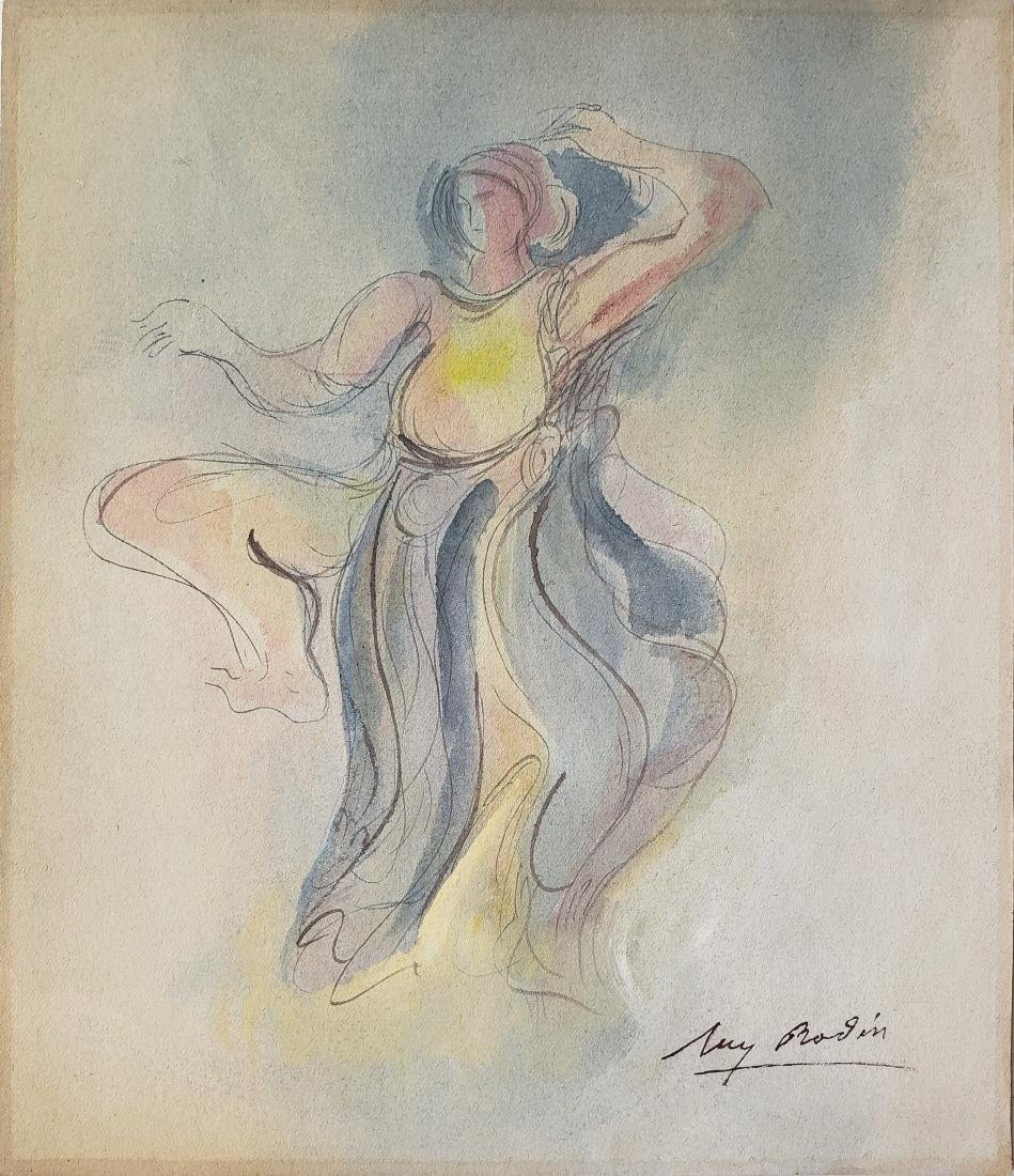 Watercolor on paper signed Aug. Rodin