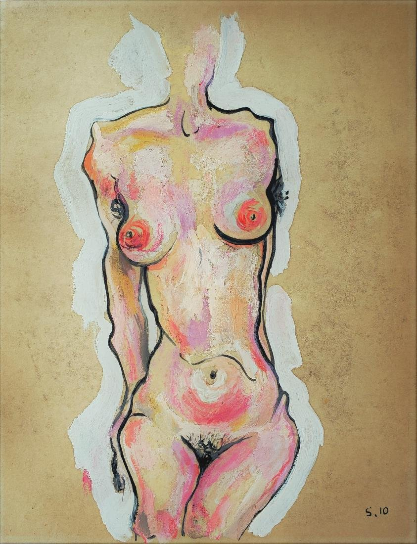Egon Schiele mixed media on paper.