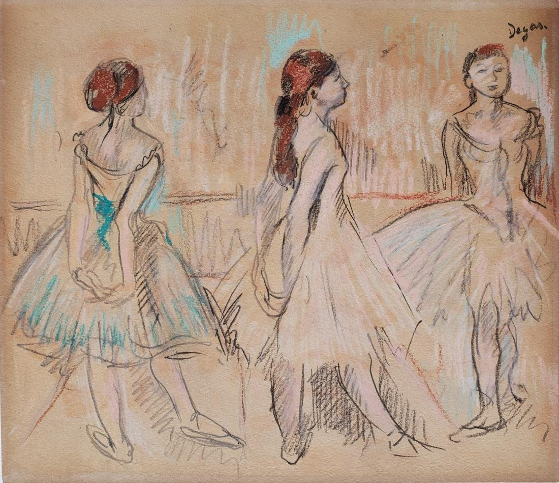 Mixed media on paper signed Degas