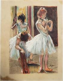 Mixed media on paper signed Degas.