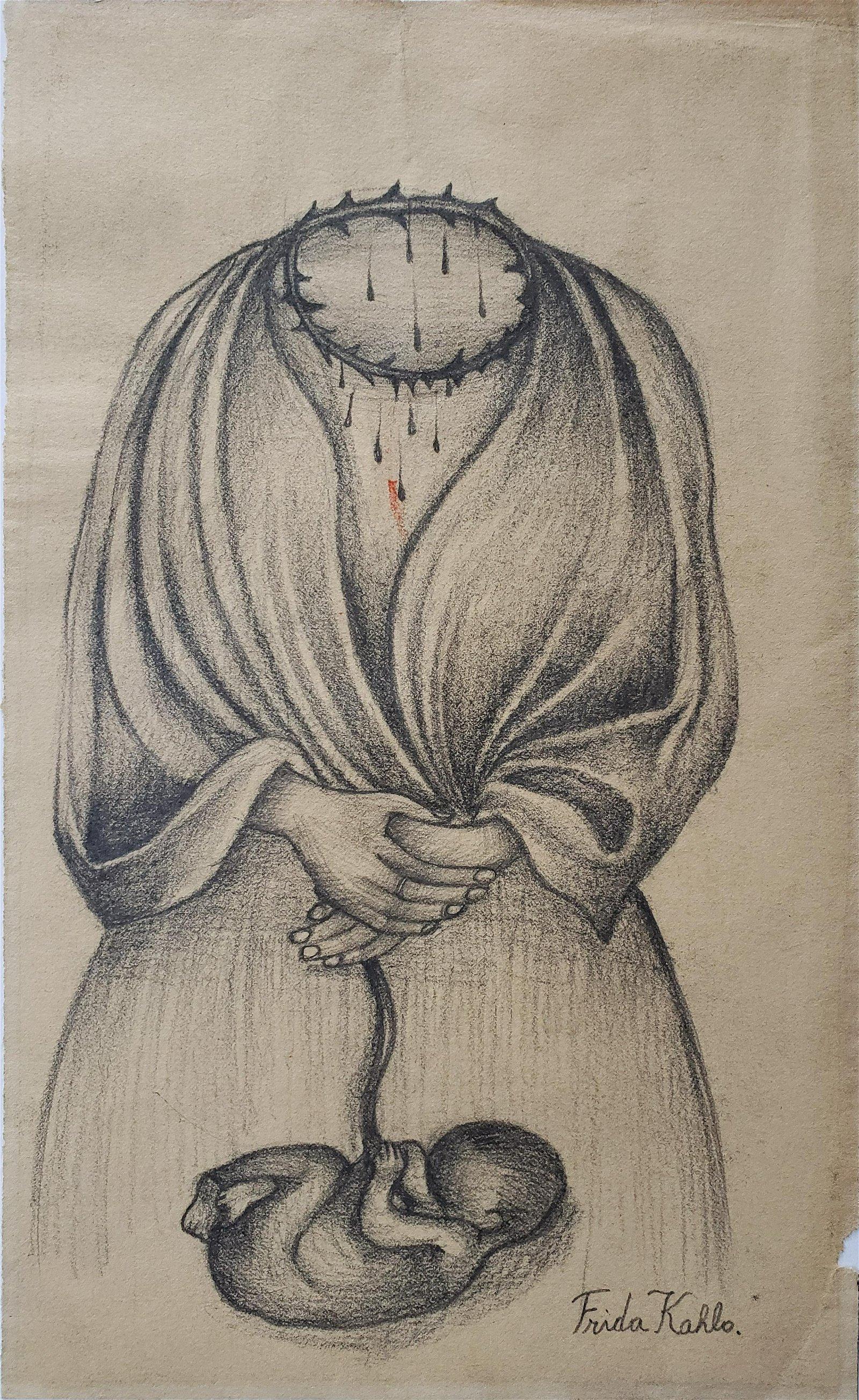 Signed Frida Kahlo charcoal on paper