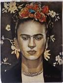 Signed Frida Kahlo mixed media on paper