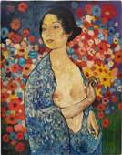 Mixed media on paper.  Style of Gustav Klimt