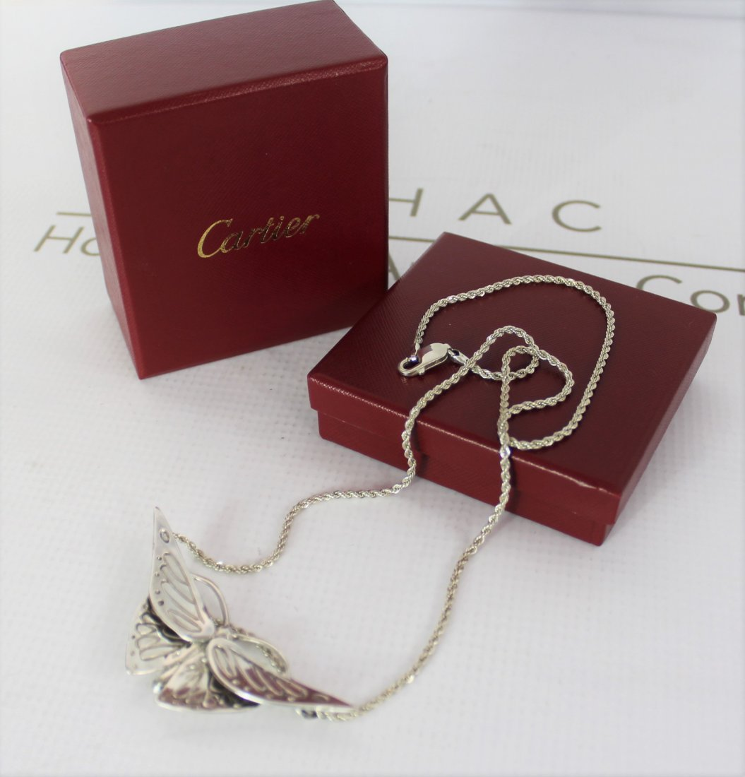 Cartier Sterling Silver Butterfly Necklace