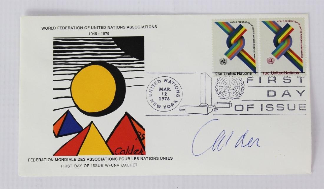 United Nations Wfuna Cachet Signed by Alexander Calder - 3