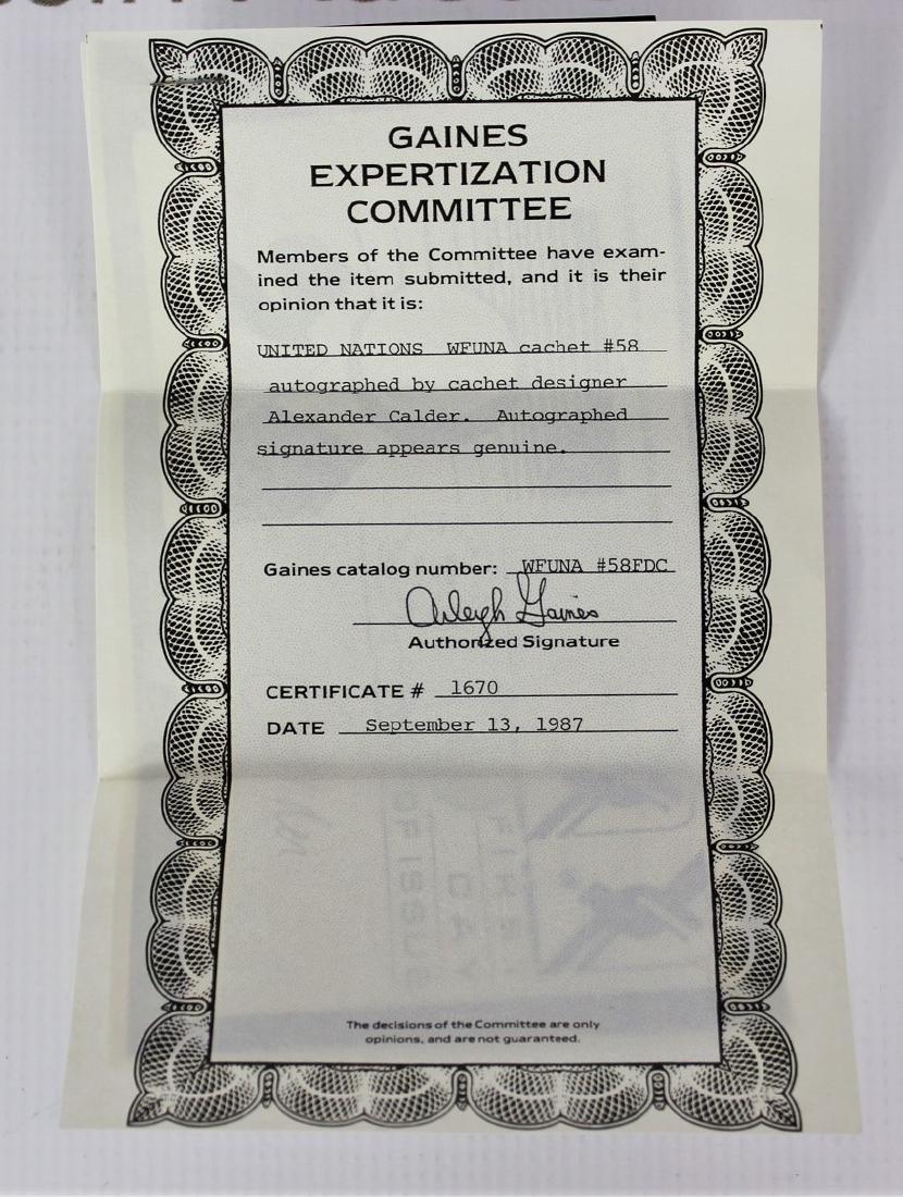 United Nations Wfuna Cachet Signed by Alexander Calder - 5
