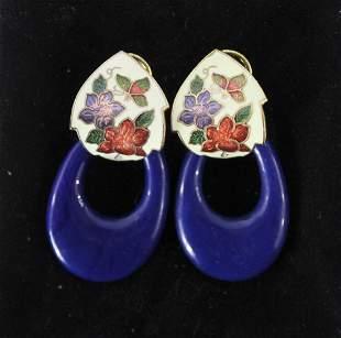 Vintage Pair of Stone Floral Earrings