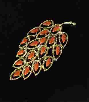 Vintage Golden Leaf Brooch