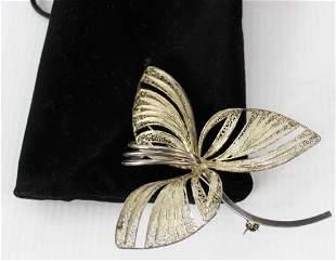 Silver Three Leaf Brooch