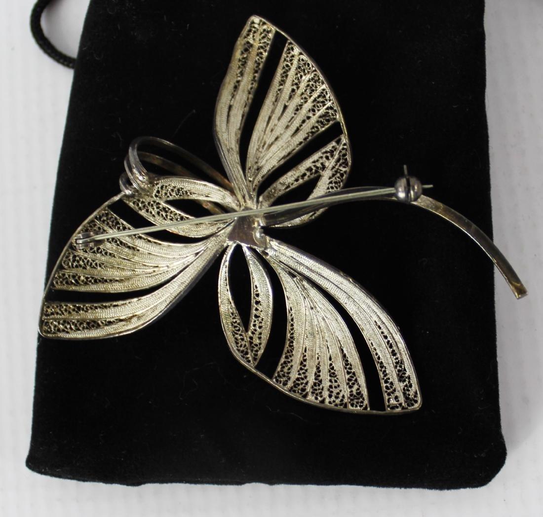 Silver Three Leaf Brooch - 3