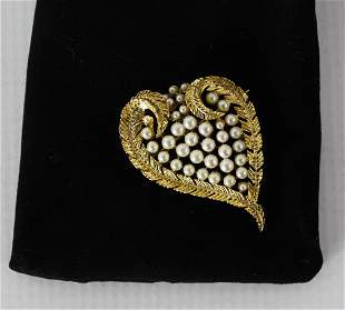 Vintage Pearl Beaded Brooch